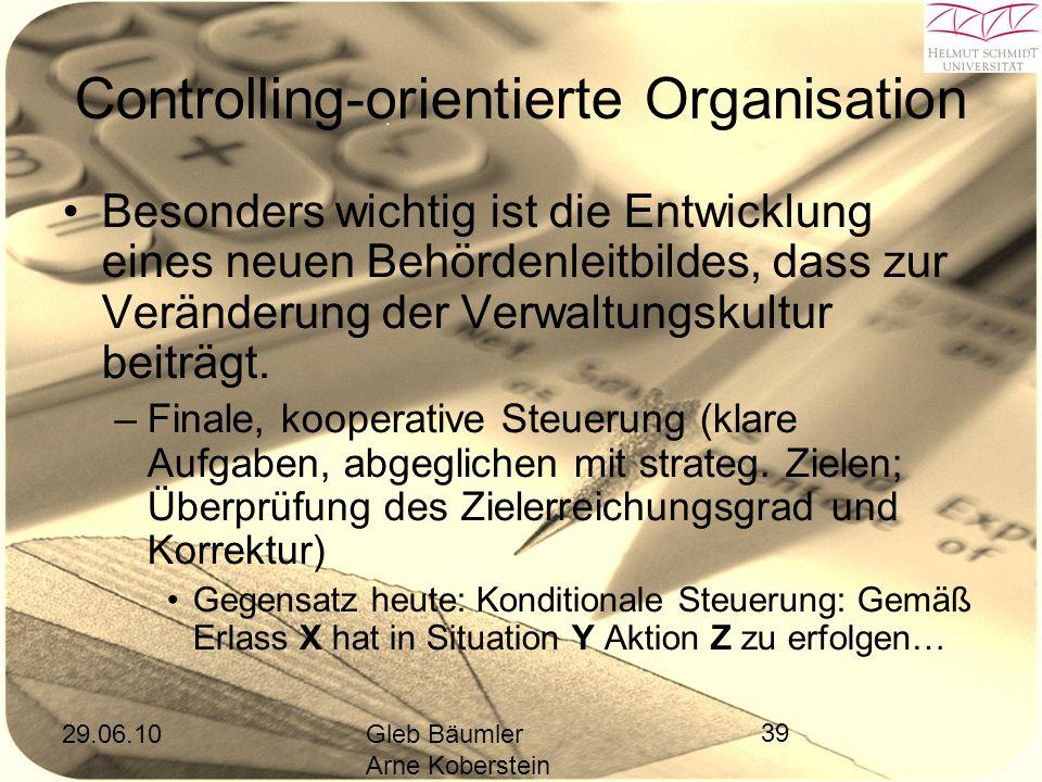 29.06.10Gleb Bäumler Arne Koberstein 39 Controlling-orientierte Organisation Besonders wichtig ist die Entwicklung eines neuen Behördenleitbildes, dass zur Veränderung der Verwaltungskultur beiträgt.