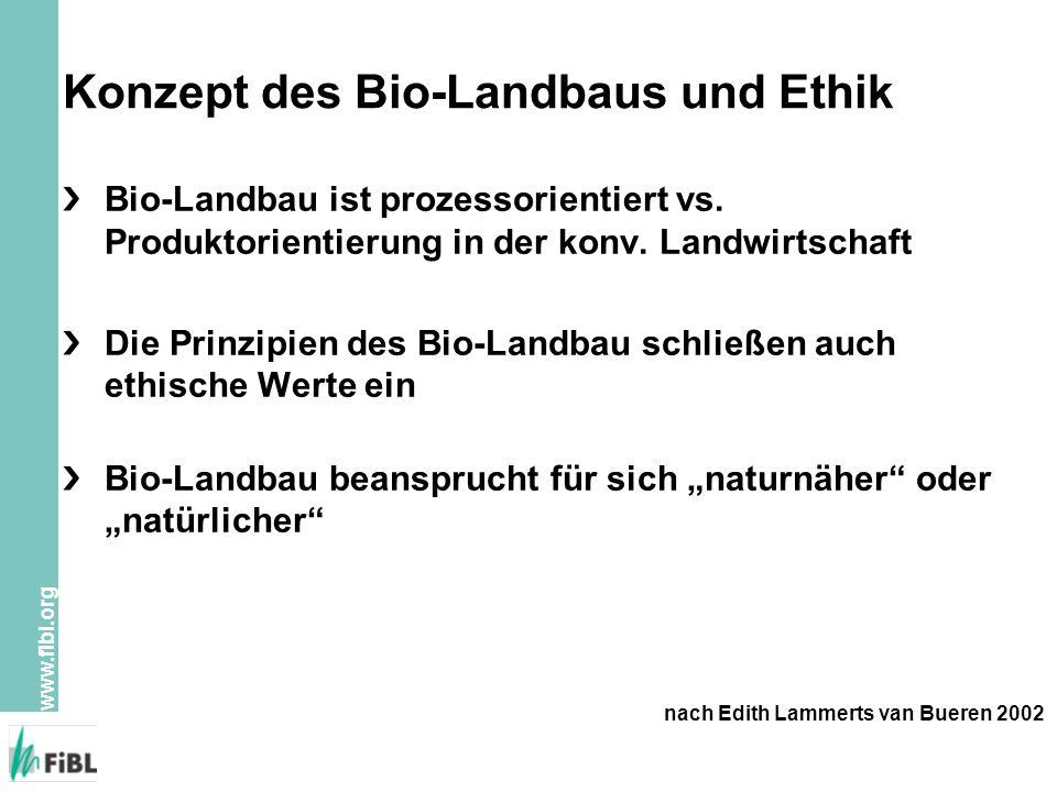 www.fibl.org Konzept des Bio-Landbaus und Ethik Bio-Landbau ist prozessorientiert vs. Produktorientierung in der konv. Landwirtschaft Die Prinzipien d