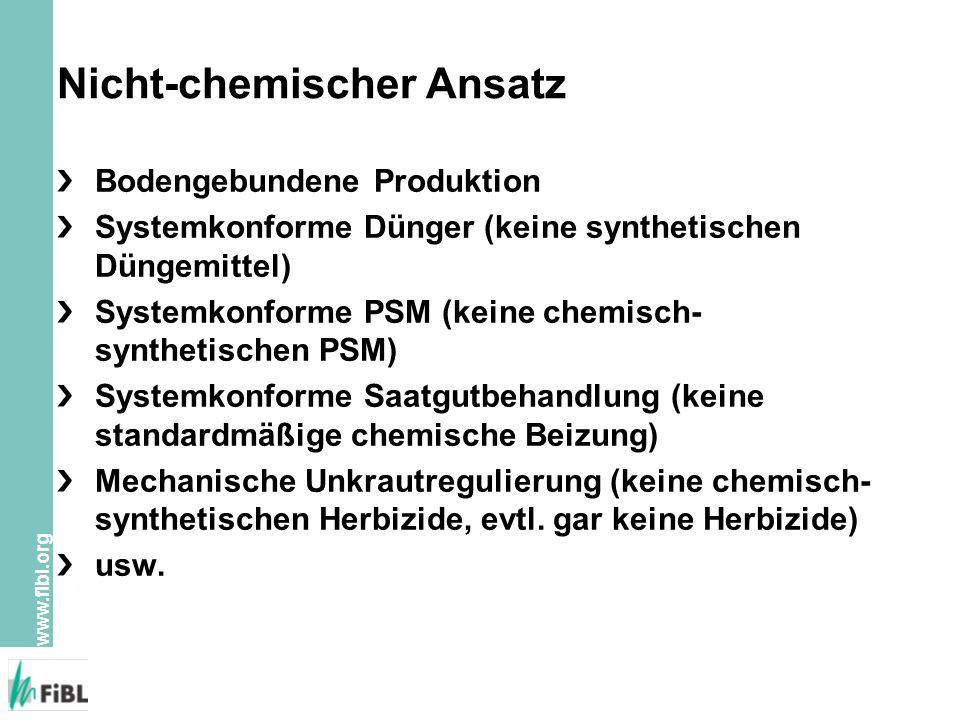 www.fibl.org Nicht-chemischer Ansatz Bodengebundene Produktion Systemkonforme Dünger (keine synthetischen Düngemittel) Systemkonforme PSM (keine chemisch- synthetischen PSM) Systemkonforme Saatgutbehandlung (keine standardmäßige chemische Beizung) Mechanische Unkrautregulierung (keine chemisch- synthetischen Herbizide, evtl.