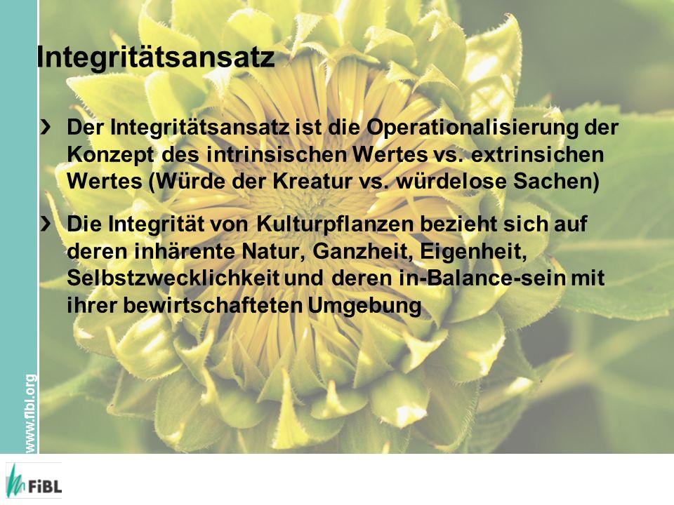 www.fibl.org Integritätsansatz Der Integritätsansatz ist die Operationalisierung der Konzept des intrinsischen Wertes vs. extrinsichen Wertes (Würde d
