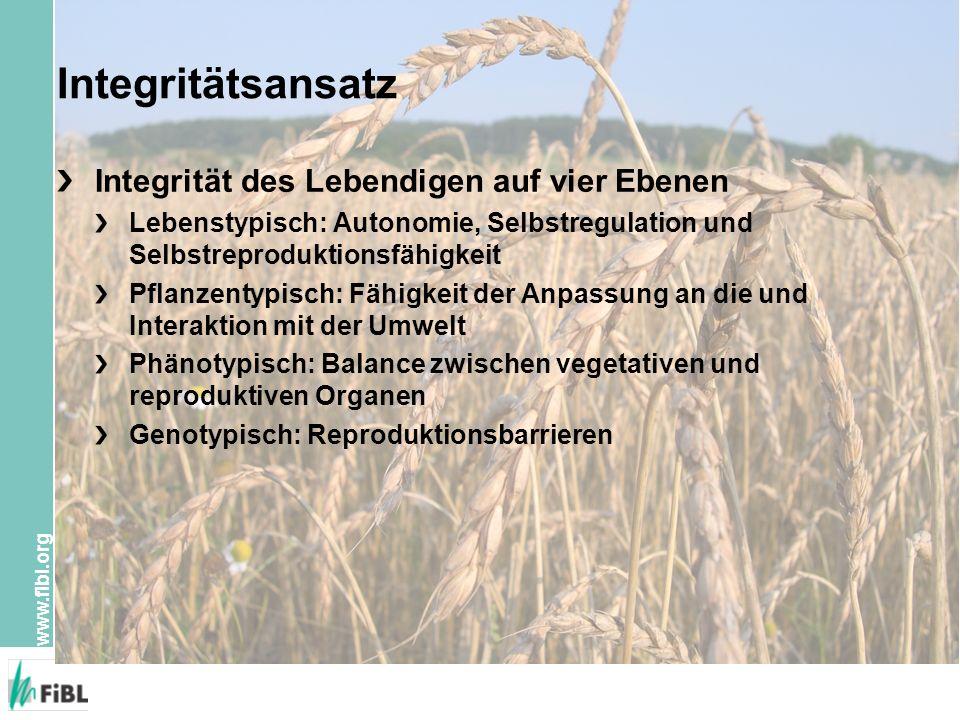 www.fibl.org Integritätsansatz Integrität des Lebendigen auf vier Ebenen Lebenstypisch: Autonomie, Selbstregulation und Selbstreproduktionsfähigkeit P
