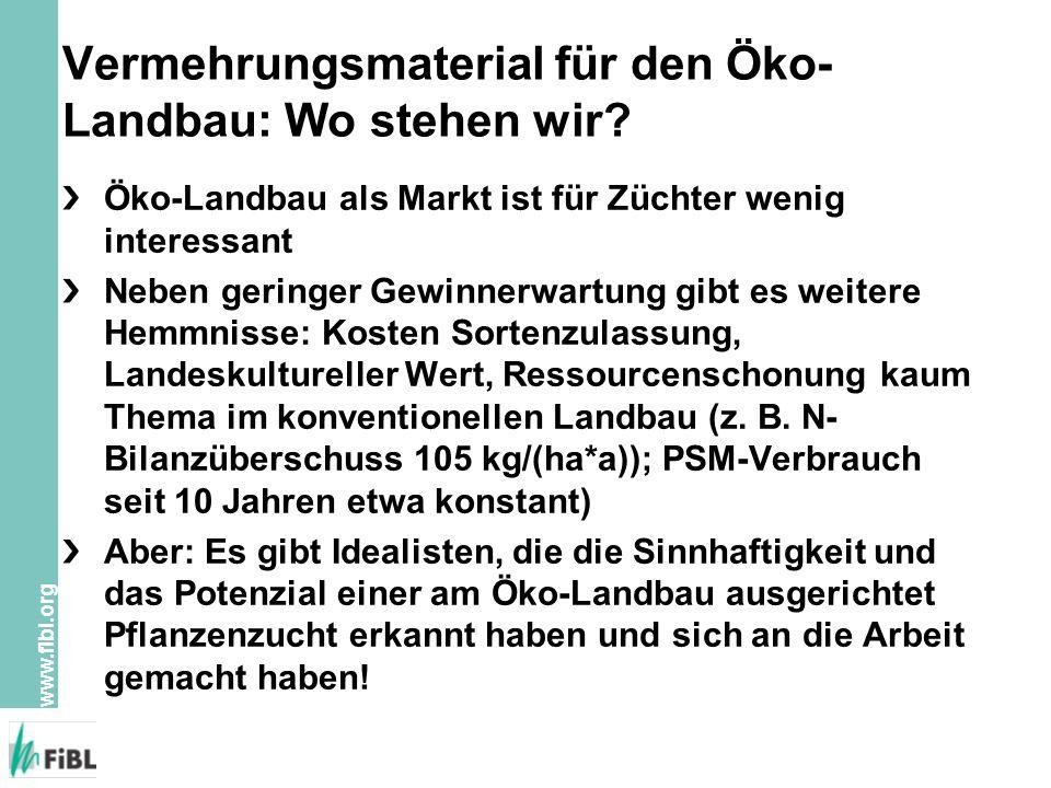 www.fibl.org Vermehrungsmaterial für den Öko- Landbau: Wo stehen wir.