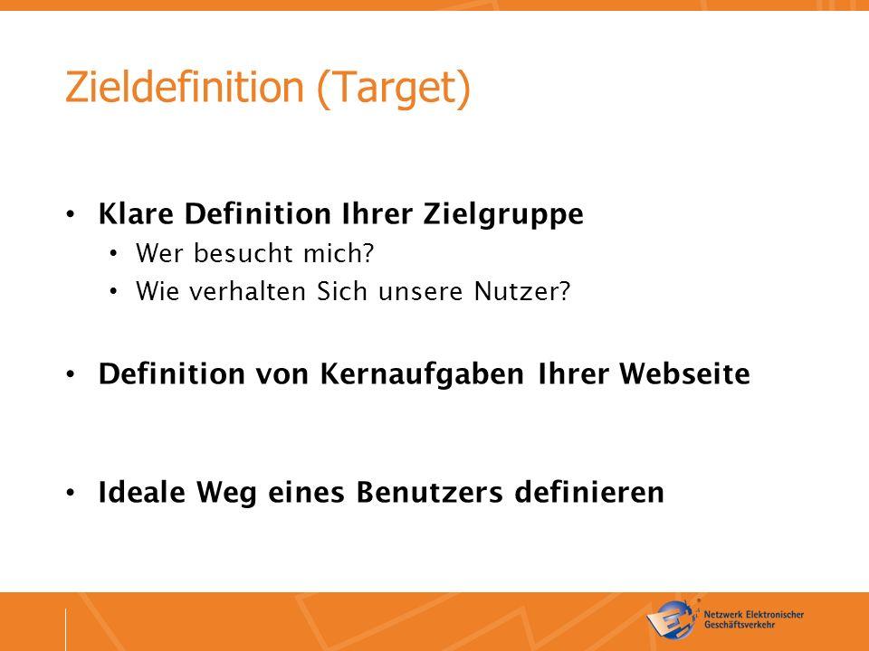 Zieldefinition (Target) Klare Definition Ihrer Zielgruppe Wer besucht mich.