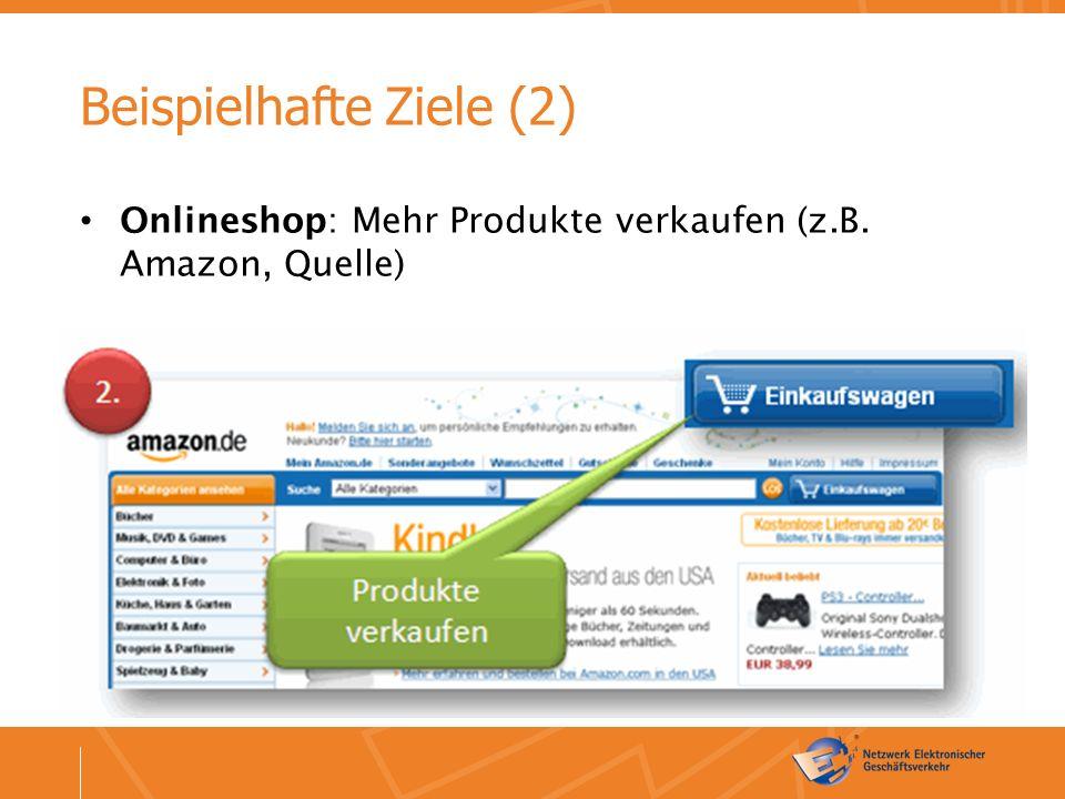 Beispielhafte Ziele (2) Onlineshop: Mehr Produkte verkaufen (z.B. Amazon, Quelle)