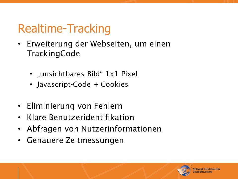 """Realtime-Tracking Erweiterung der Webseiten, um einen TrackingCode """"unsichtbares Bild 1x1 Pixel Javascript-Code + Cookies Eliminierung von Fehlern Klare Benutzeridentifikation Abfragen von Nutzerinformationen Genauere Zeitmessungen"""
