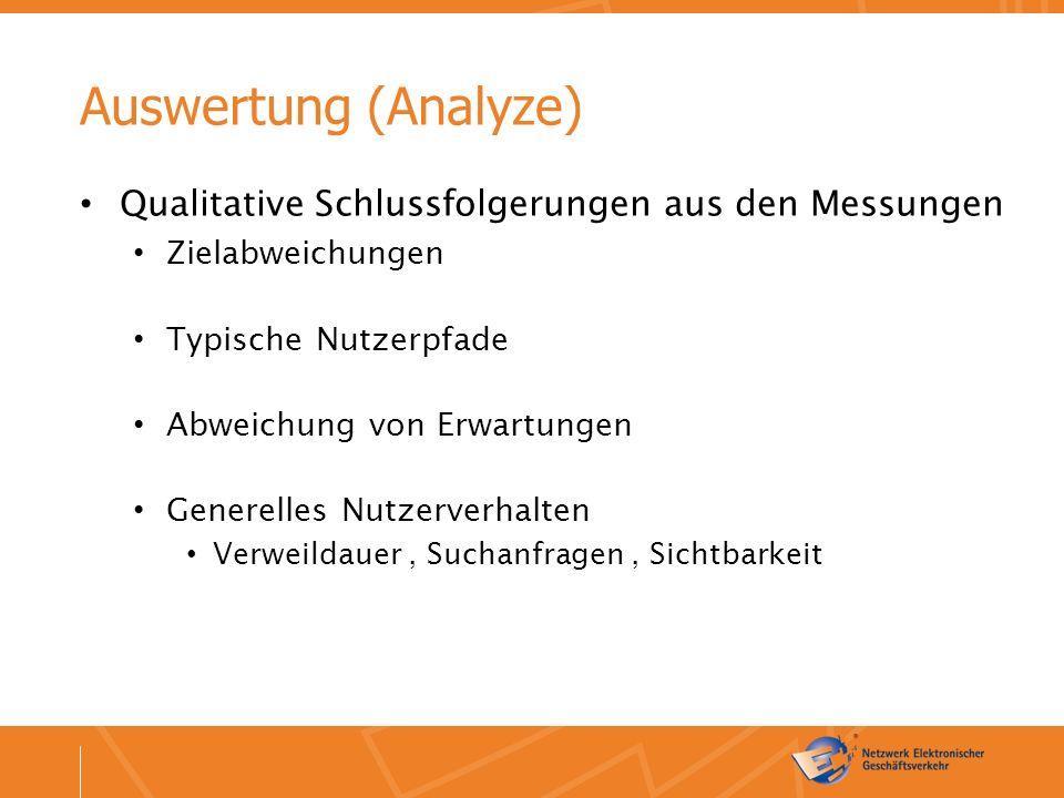 Auswertung (Analyze) Qualitative Schlussfolgerungen aus den Messungen Zielabweichungen Typische Nutzerpfade Abweichung von Erwartungen Generelles Nutzerverhalten Verweildauer, Suchanfragen, Sichtbarkeit