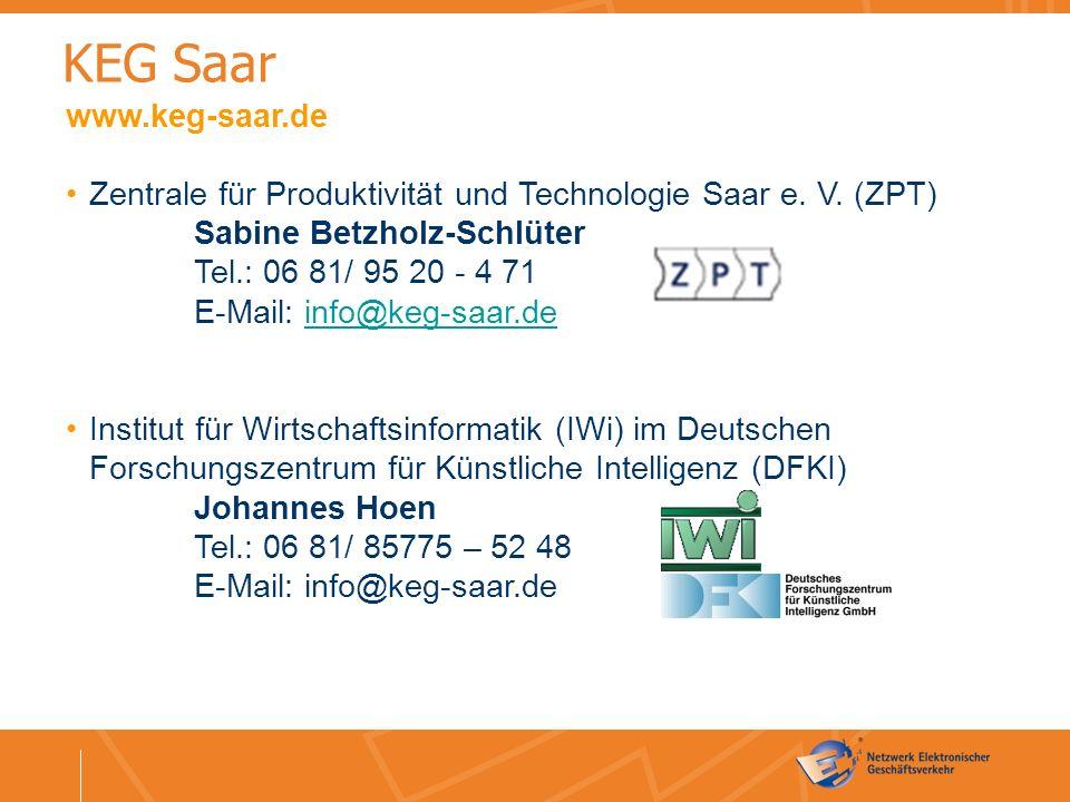 Kontakt www.keg-saar.de Zentrale für Produktivität und Technologie Saar e.