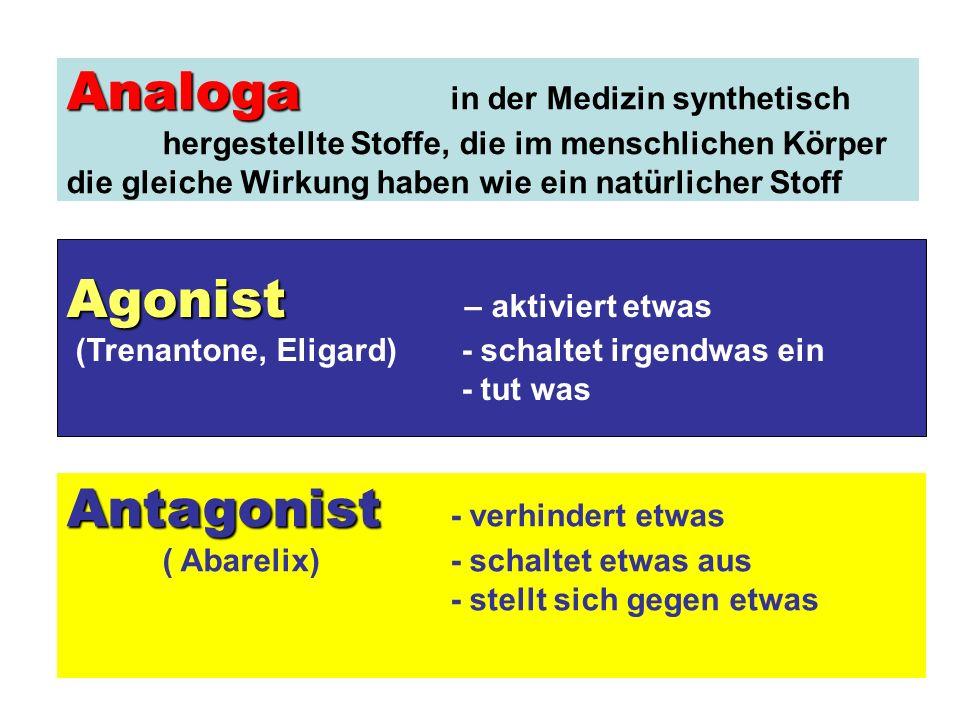 Agonist Agonist – aktiviert etwas (Trenantone, Eligard) - schaltet irgendwas ein - tut was Antagonist Antagonist - verhindert etwas ( Abarelix) - schaltet etwas aus - stellt sich gegen etwas Analoga Analoga in der Medizin synthetisch hergestellte Stoffe, die im menschlichen Körper die gleiche Wirkung haben wie ein natürlicher Stoff