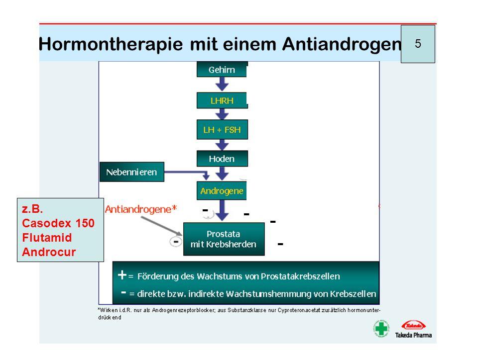 - - 5 Hormontherapie mit einem Antiandrogen z.B. Casodex 150 Flutamid Androcur - - -