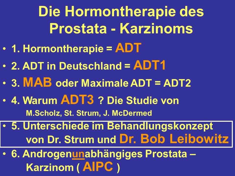 Die Hormontherapie des Prostata - Karzinoms 1. Hormontherapie = ADT 2.