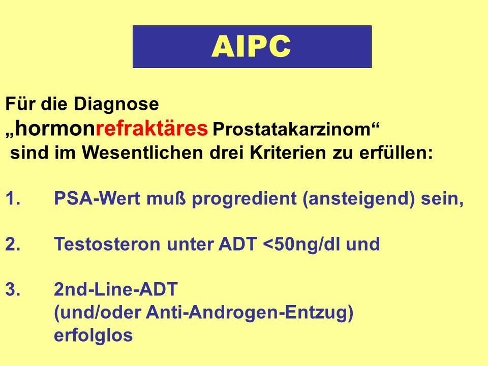 """Für die Diagnose """" hormonrefraktäres Prostatakarzinom sind im Wesentlichen drei Kriterien zu erfüllen: 1.PSA-Wert muß progredient (ansteigend) sein, 2."""