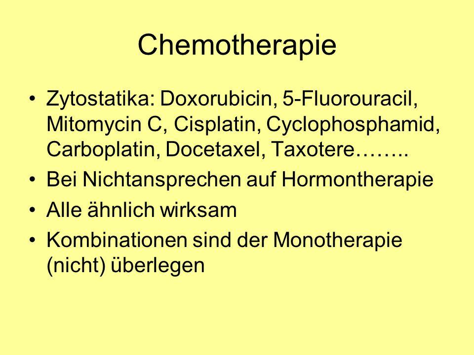 Chemotherapie Zytostatika: Doxorubicin, 5-Fluorouracil, Mitomycin C, Cisplatin, Cyclophosphamid, Carboplatin, Docetaxel, Taxotere……..
