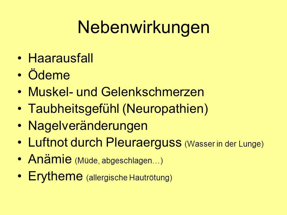 Nebenwirkungen Haarausfall Ödeme Muskel- und Gelenkschmerzen Taubheitsgefühl (Neuropathien) Nagelveränderungen Luftnot durch Pleuraerguss (Wasser in der Lunge) Anämie (Müde, abgeschlagen…) Erytheme (allergische Hautrötung)