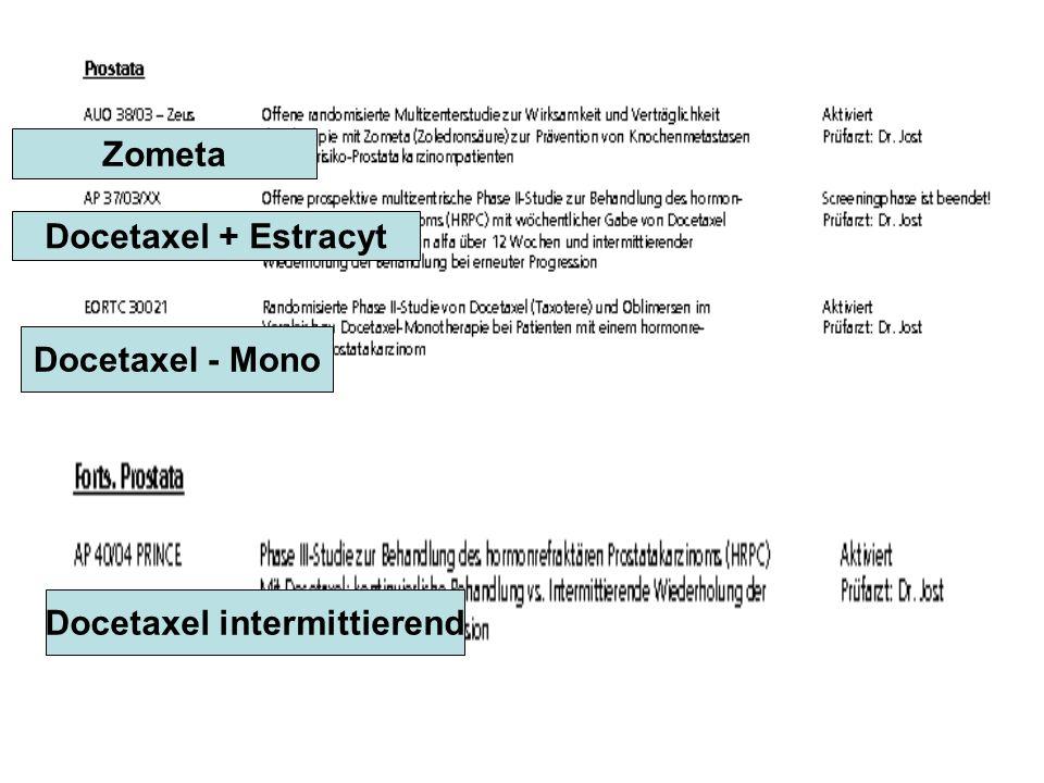 Zometa Docetaxel + Estracyt Docetaxel - Mono Docetaxel intermittierend