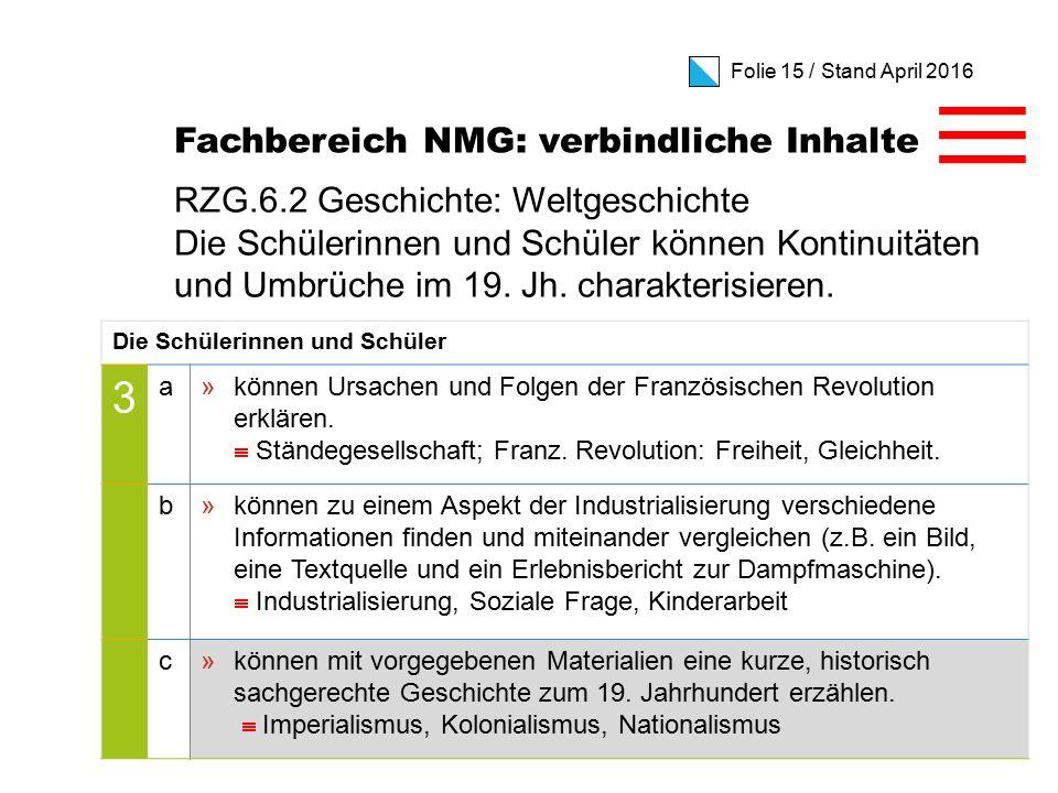 Folie 15 / Stand April 2016 RZG.6.2 Geschichte: Weltgeschichte Die Schülerinnen und Schüler können Kontinuitäten und Umbrüche im 19.