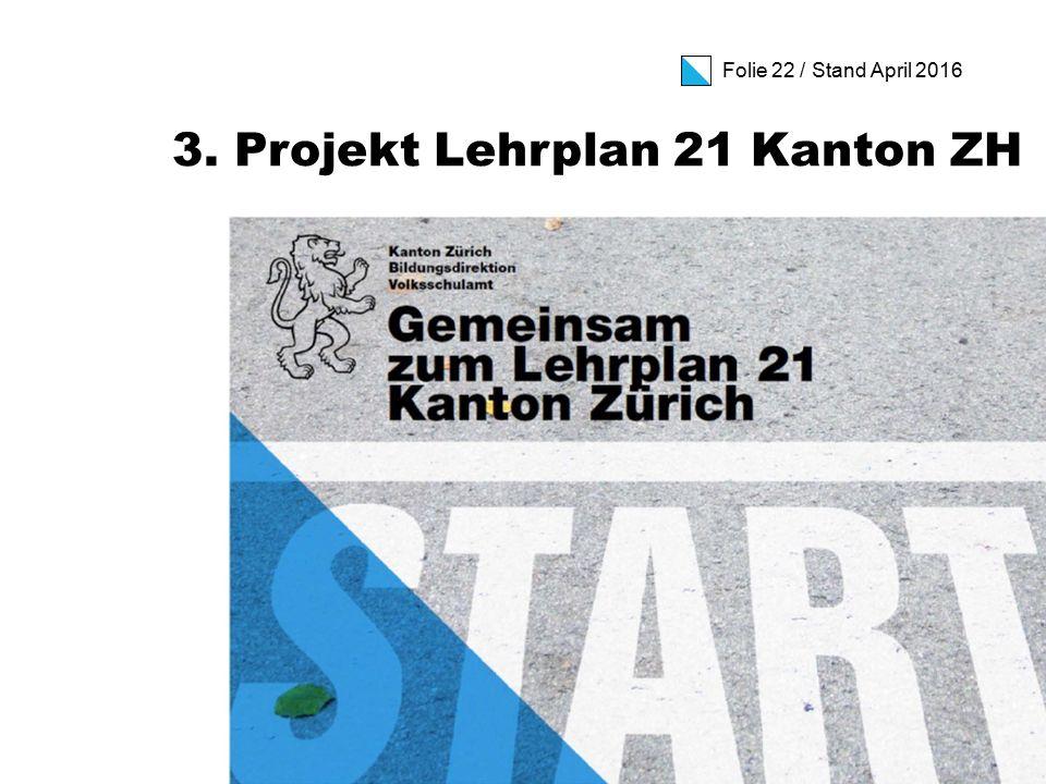 Folie 22 / Stand April 2016 3. Projekt Lehrplan 21 Kanton ZH