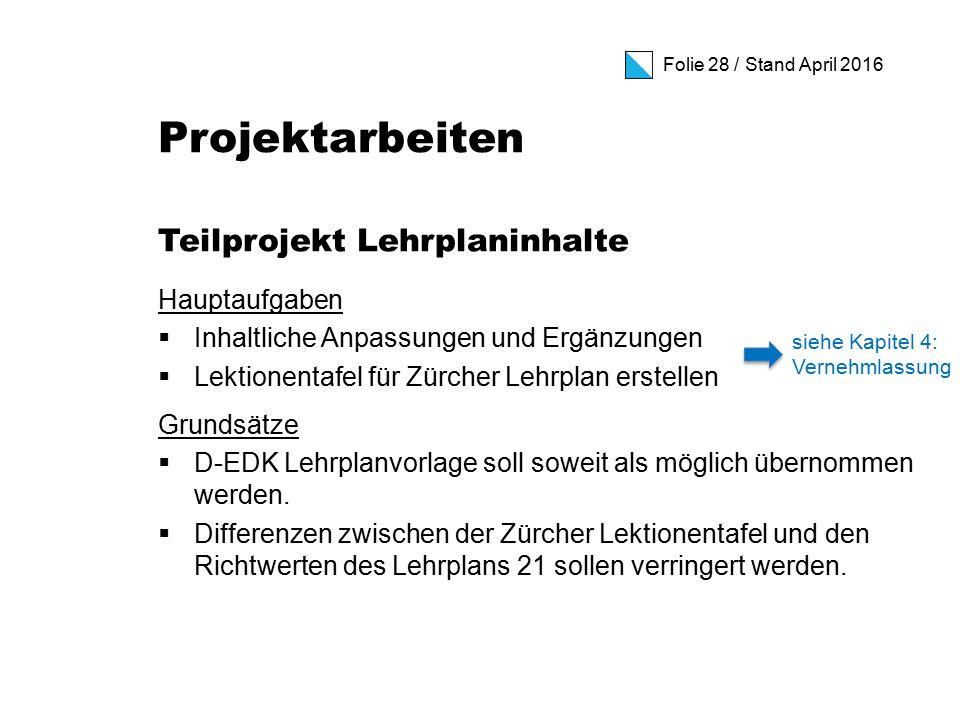 Folie 28 / Stand April 2016 Projektarbeiten Teilprojekt Lehrplaninhalte Hauptaufgaben  Inhaltliche Anpassungen und Ergänzungen  Lektionentafel für Zürcher Lehrplan erstellen Grundsätze  D-EDK Lehrplanvorlage soll soweit als möglich übernommen werden.