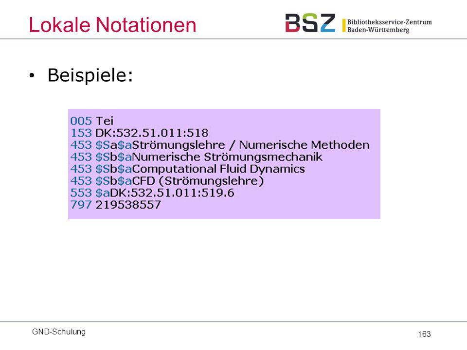 163 Beispiele: GND-Schulung Lokale Notationen