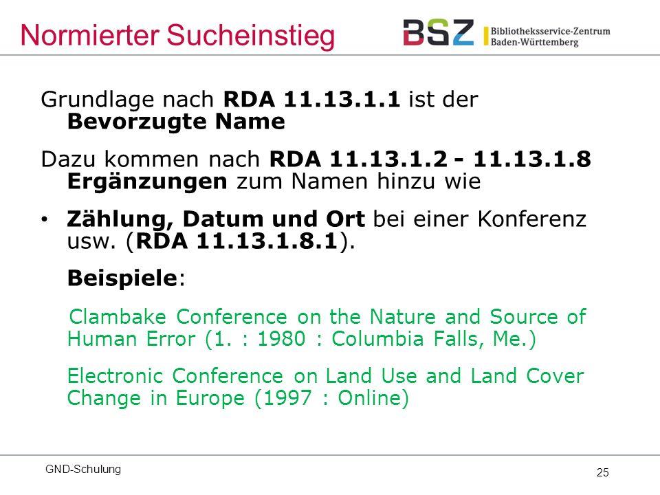 25 Grundlage nach RDA 11.13.1.1 ist der Bevorzugte Name Dazu kommen nach RDA 11.13.1.2 - 11.13.1.8 Ergänzungen zum Namen hinzu wie Zählung, Datum und Ort bei einer Konferenz usw.