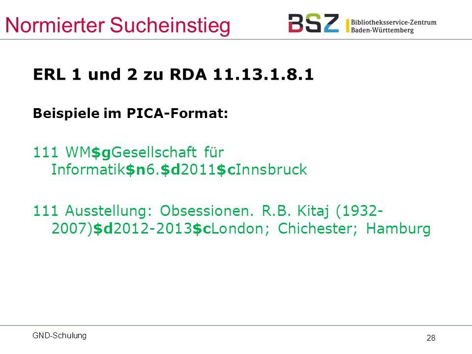 28 ERL 1 und 2 zu RDA 11.13.1.8.1 Beispiele im PICA-Format: 111 WM$gGesellschaft für Informatik$n6.$d2011$cInnsbruck 111 Ausstellung: Obsessionen.