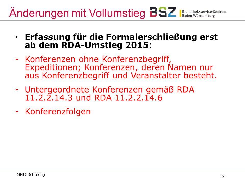 31 Erfassung für die Formalerschließung erst ab dem RDA-Umstieg 2015: -Konferenzen ohne Konferenzbegriff, Expeditionen; Konferenzen, deren Namen nur aus Konferenzbegriff und Veranstalter besteht.