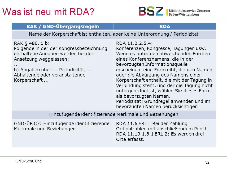32 GND-Schulung Was ist neu mit RDA.