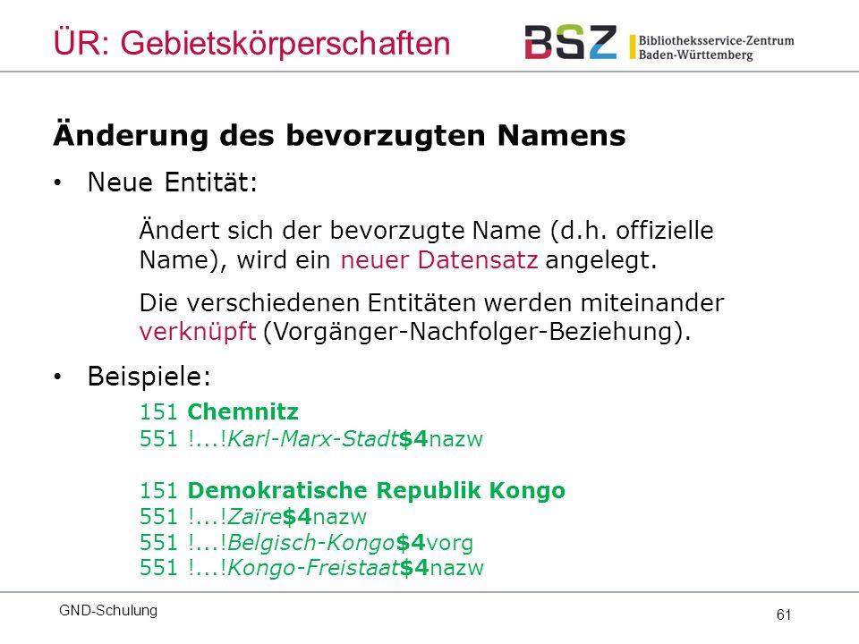 61 Änderung des bevorzugten Namens Neue Entität: Ändert sich der bevorzugte Name (d.h.