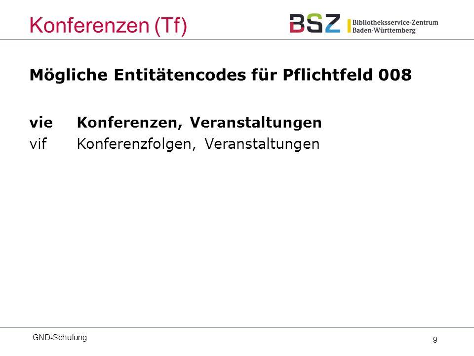 9 Mögliche Entitätencodes für Pflichtfeld 008 vie Konferenzen, Veranstaltungen vif Konferenzfolgen, Veranstaltungen GND-Schulung Konferenzen (Tf)