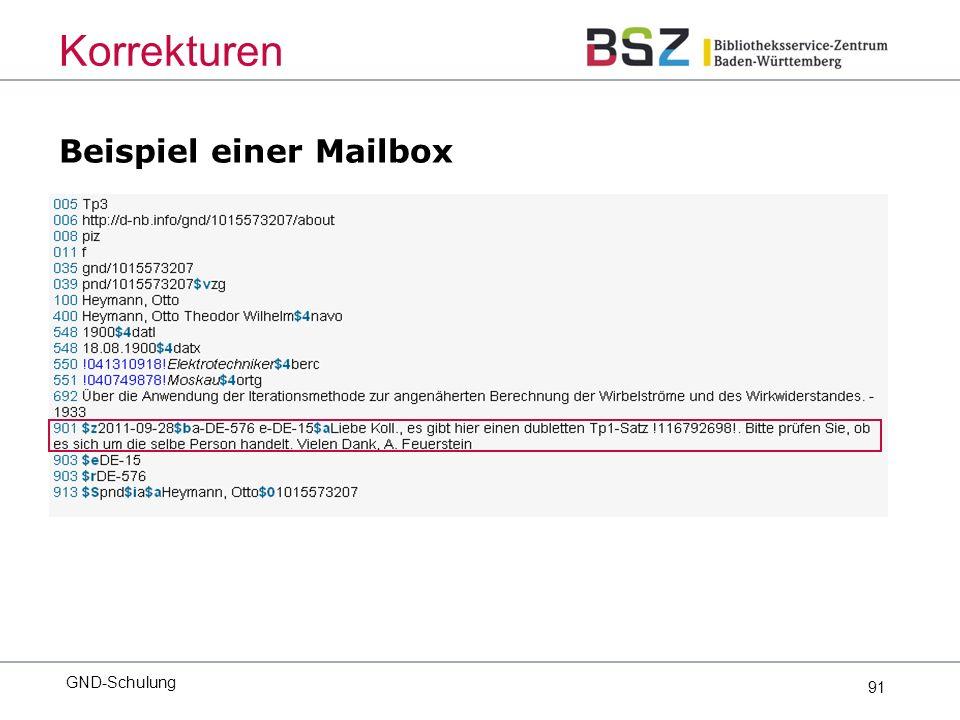 91 Beispiel einer Mailbox GND-Schulung Korrekturen