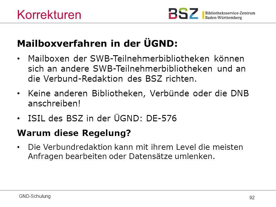 92 Mailboxverfahren in der ÜGND: Mailboxen der SWB-Teilnehmerbibliotheken können sich an andere SWB-Teilnehmerbibliotheken und an die Verbund-Redaktion des BSZ richten.