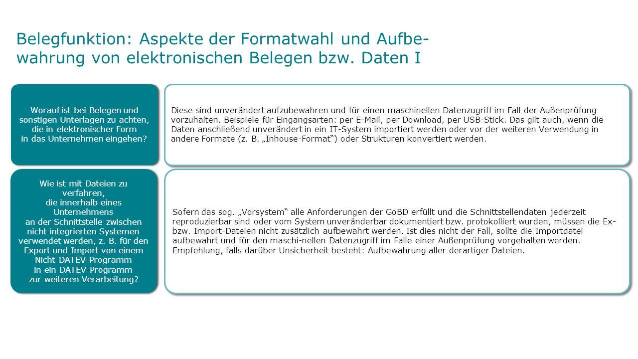 Belegfunktion: Aspekte der Formatwahl und Aufbe- wahrung von elektronischen Belegen bzw.