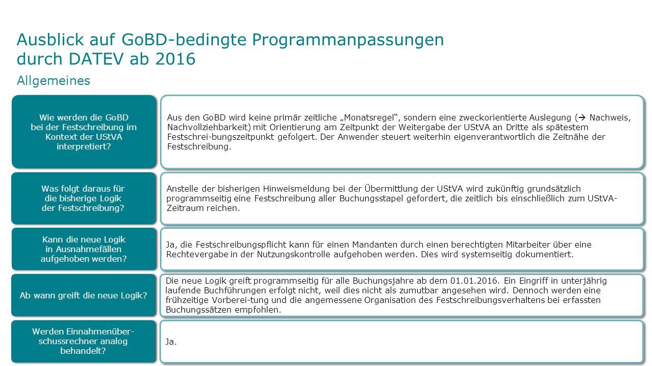 """Ausblick auf GoBD-bedingte Programmanpassungen durch DATEV ab 2016 Aus den GoBD wird keine primär zeitliche """"Monatsregel"""", sondern eine zweckorientier"""