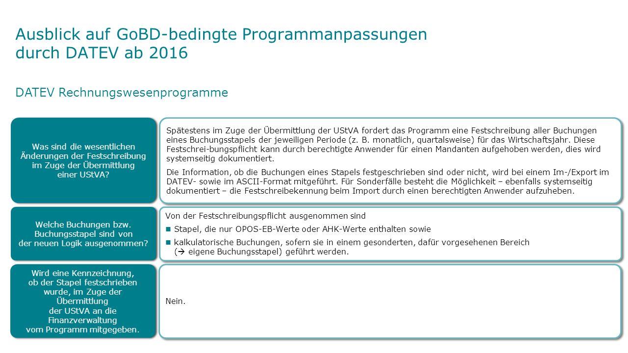 Spätestens im Zuge der Übermittlung der UStVA fordert das Programm eine Festschreibung aller Buchungen eines Buchungsstapels der jeweiligen Periode (z.