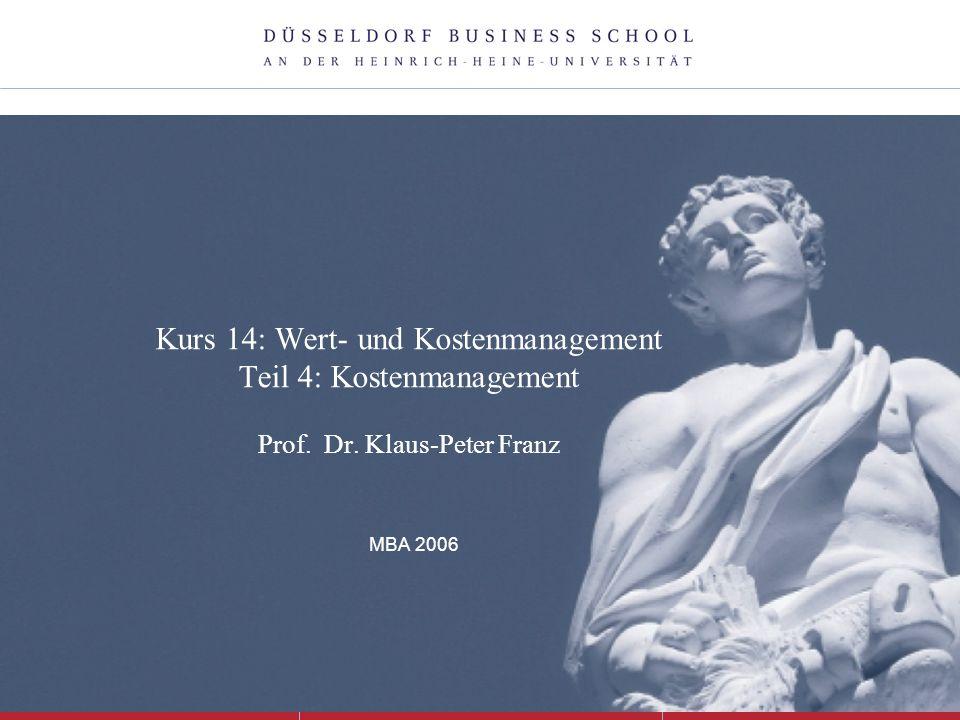 Kurs 14: Wert- und Kostenmanagement Teil 4: Kostenmanagement Prof. Dr. Klaus-Peter Franz MBA 2006