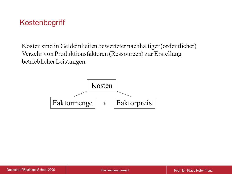 Düsseldorf Business School 2006 Kostenmanagement Prof.