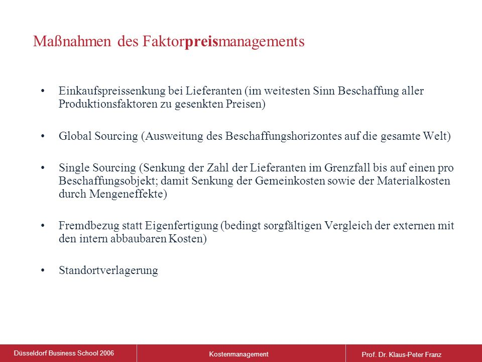 Düsseldorf Business School 2006 Kostenmanagement Prof.