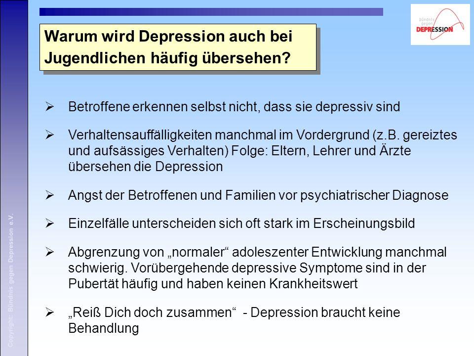Copyright: Bündnis gegen Depression e.V. Warum wird Depression auch bei Jugendlichen häufig übersehen?  Betroffene erkennen selbst nicht, dass sie de