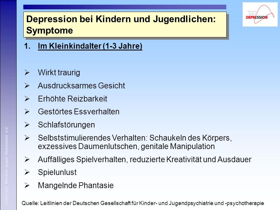 Copyright: Bündnis gegen Depression e.V. 1.Im Kleinkindalter (1-3 Jahre)  Wirkt traurig  Ausdrucksarmes Gesicht  Erhöhte Reizbarkeit  Gestörtes Es