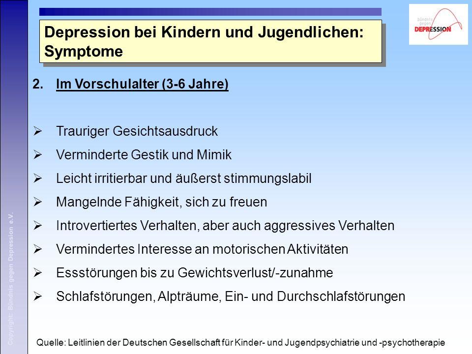Copyright: Bündnis gegen Depression e.V. 2.Im Vorschulalter (3-6 Jahre)  Trauriger Gesichtsausdruck  Verminderte Gestik und Mimik  Leicht irritierb