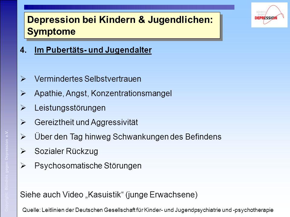 Copyright: Bündnis gegen Depression e.V. 4.Im Pubertäts- und Jugendalter  Vermindertes Selbstvertrauen  Apathie, Angst, Konzentrationsmangel  Leist