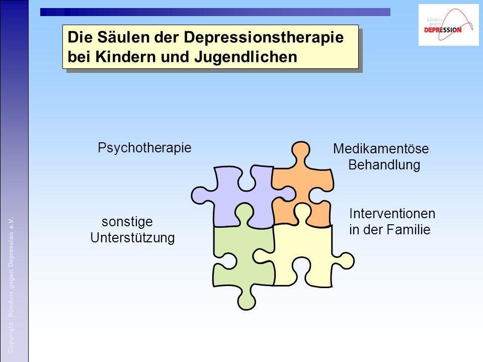 Copyright: Bündnis gegen Depression e.V. Die Säulen der Depressionstherapie bei Kindern und Jugendlichen Medikamentöse Behandlung Psychotherapie Inter