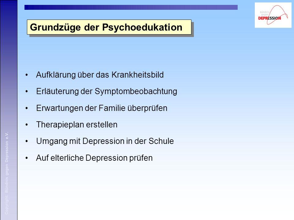 Copyright: Bündnis gegen Depression e.V. Aufklärung über das Krankheitsbild Erläuterung der Symptombeobachtung Erwartungen der Familie überprüfen Ther