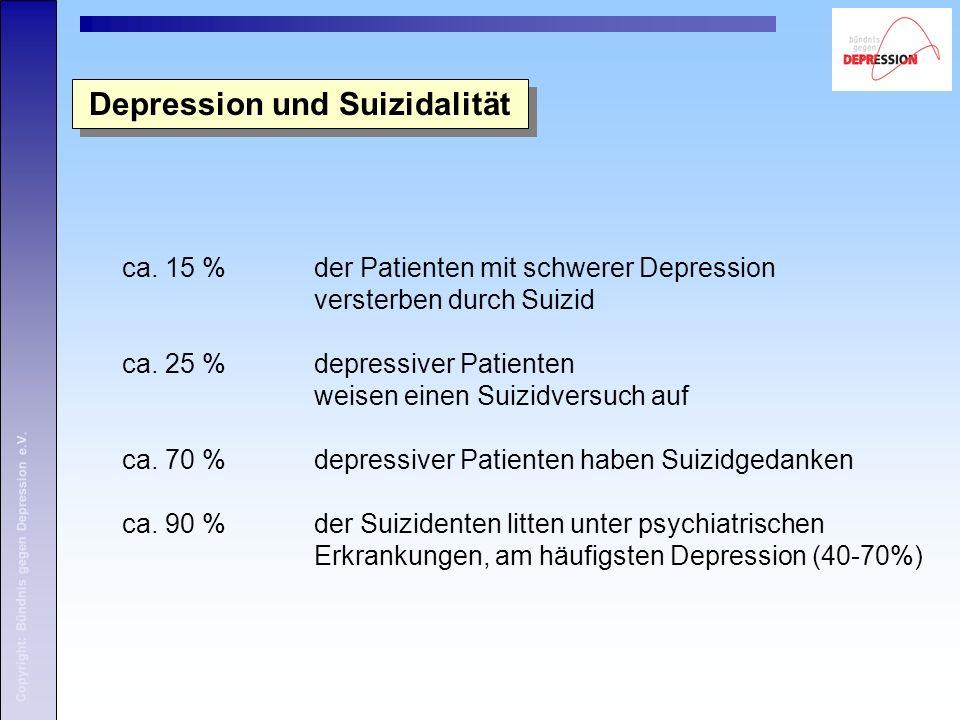 Copyright: Bündnis gegen Depression e.V. ca. 15 % der Patienten mit schwerer Depression versterben durch Suizid ca. 25 % depressiver Patienten weisen