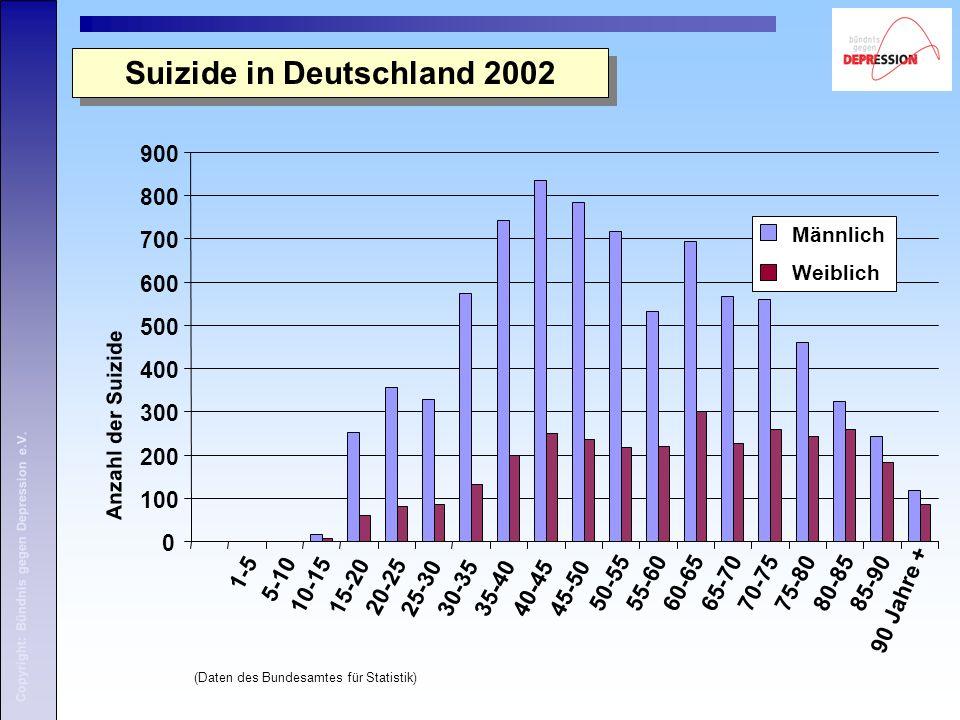 Copyright: Bündnis gegen Depression e.V. Suizide in Deutschland 2002 (Daten des Bundesamtes für Statistik)
