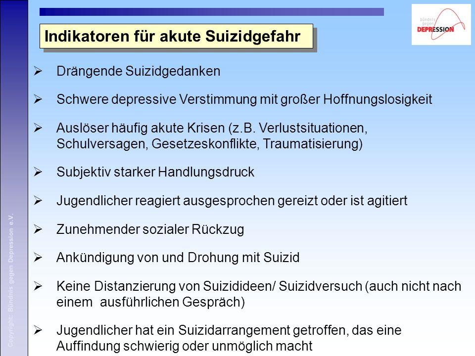 Copyright: Bündnis gegen Depression e.V. Indikatoren für akute Suizidgefahr  Drängende Suizidgedanken  Schwere depressive Verstimmung mit großer Hof