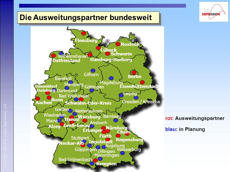 rot: Ausweitungspartner blau: in Planung Die Ausweitungspartner bundesweit Kempten Regensburg Erlangen Hamburg-Harburg Lübeck Bad Wildungen Stuttgart