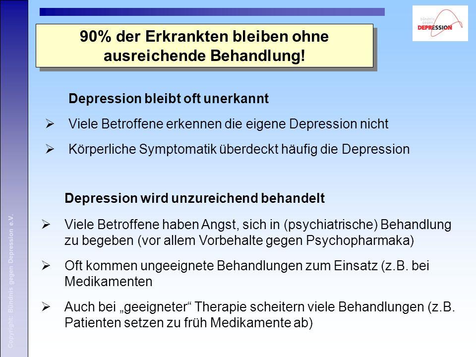Copyright: Bündnis gegen Depression e.V. 90% der Erkrankten bleiben ohne ausreichende Behandlung! Depression wird unzureichend behandelt  Viele Betro