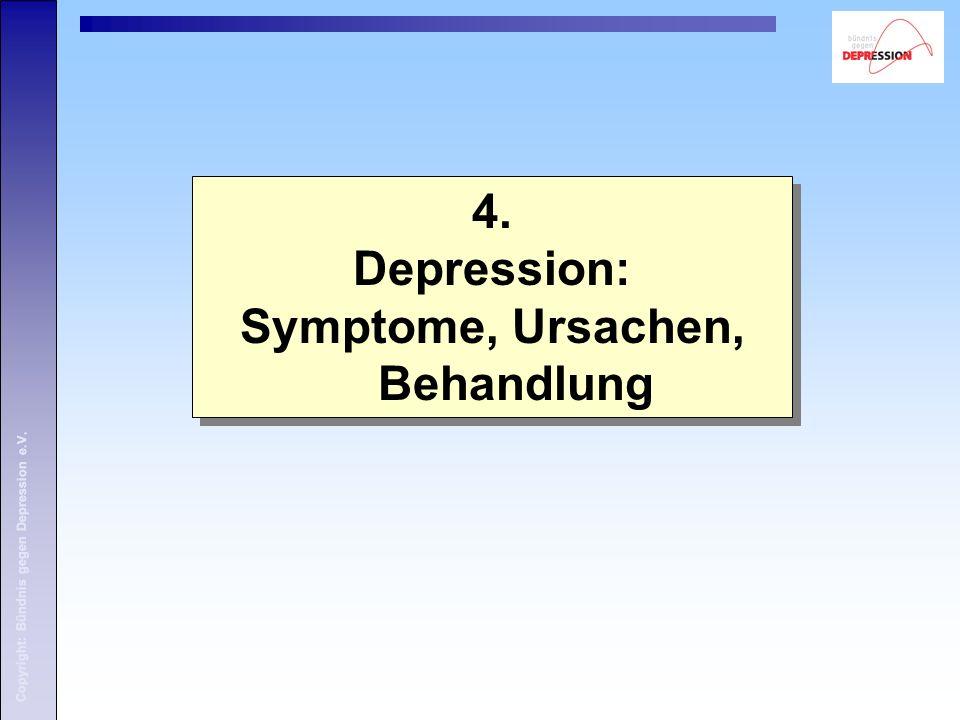 Copyright: Bündnis gegen Depression e.V. 4. Depression: Symptome, Ursachen, Behandlung 4.