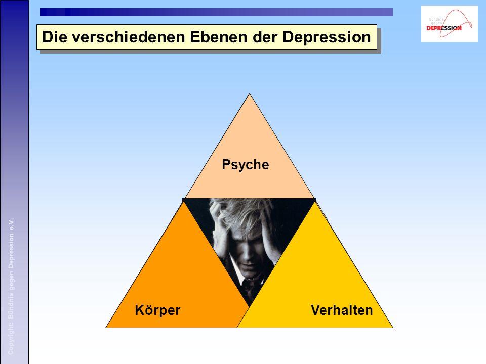 Copyright: Bündnis gegen Depression e.V. Die verschiedenen Ebenen der Depression Psyche KörperVerhalten Copyright: Bündnis gegen Depression e.V.