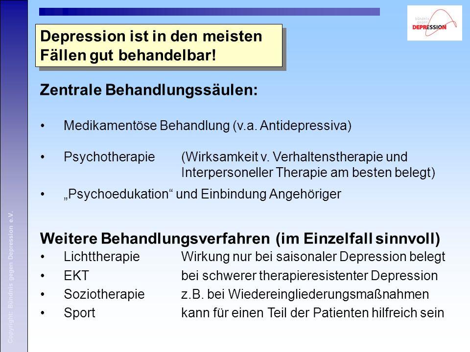 Copyright: Bündnis gegen Depression e.V. Depression ist in den meisten Fällen gut behandelbar! Zentrale Behandlungssäulen: Medikamentöse Behandlung (v